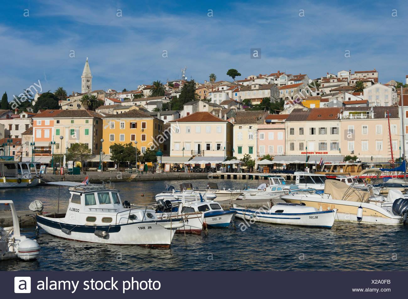 Boats in the harbour of Mali Losinj, Losinj Island, Adriatic Sea, Kvarner Gulf, Croatia, Europe Stock Photo