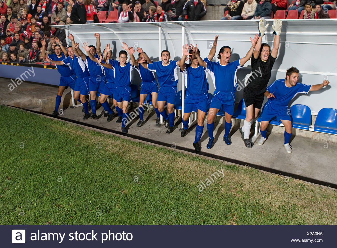Footballers celebrating - Stock Image