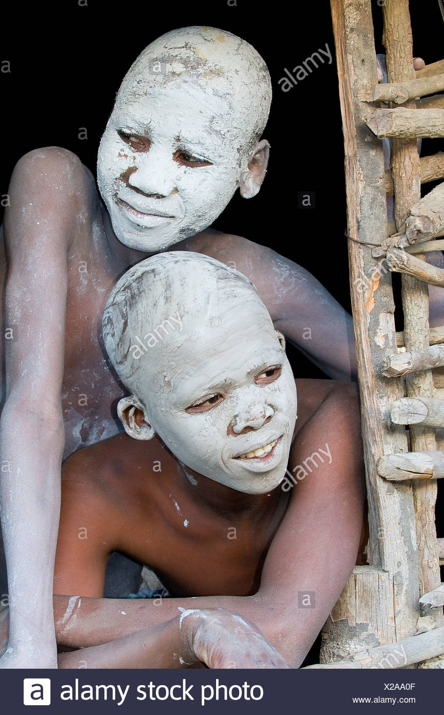Young persons with painted faces, traditional circumcision ceremony, Transkei, Eastern Cape, South Africa, Africa - Stock Image