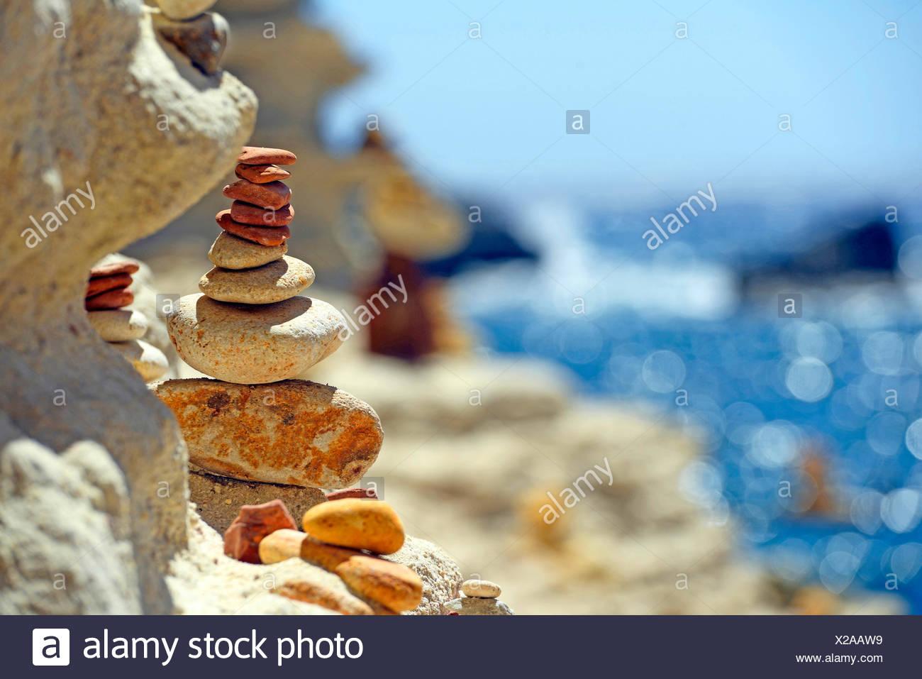 cairn at the rocky coast, France, Corsica, Bonifacio - Stock Image