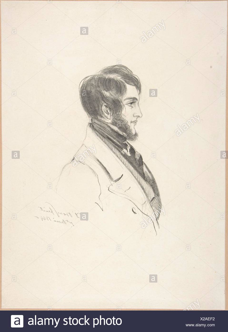 Portrait of Charles Kinnaird Sheridan. Artist: Count Alfred Guillaume Gabriel D'Orsay (French, 1801-1852); Date: 1844; Medium: Graphite; Dimensions: - Stock Image