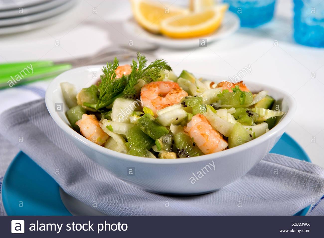 Oriental fennel salad with shrimps - Stock Image