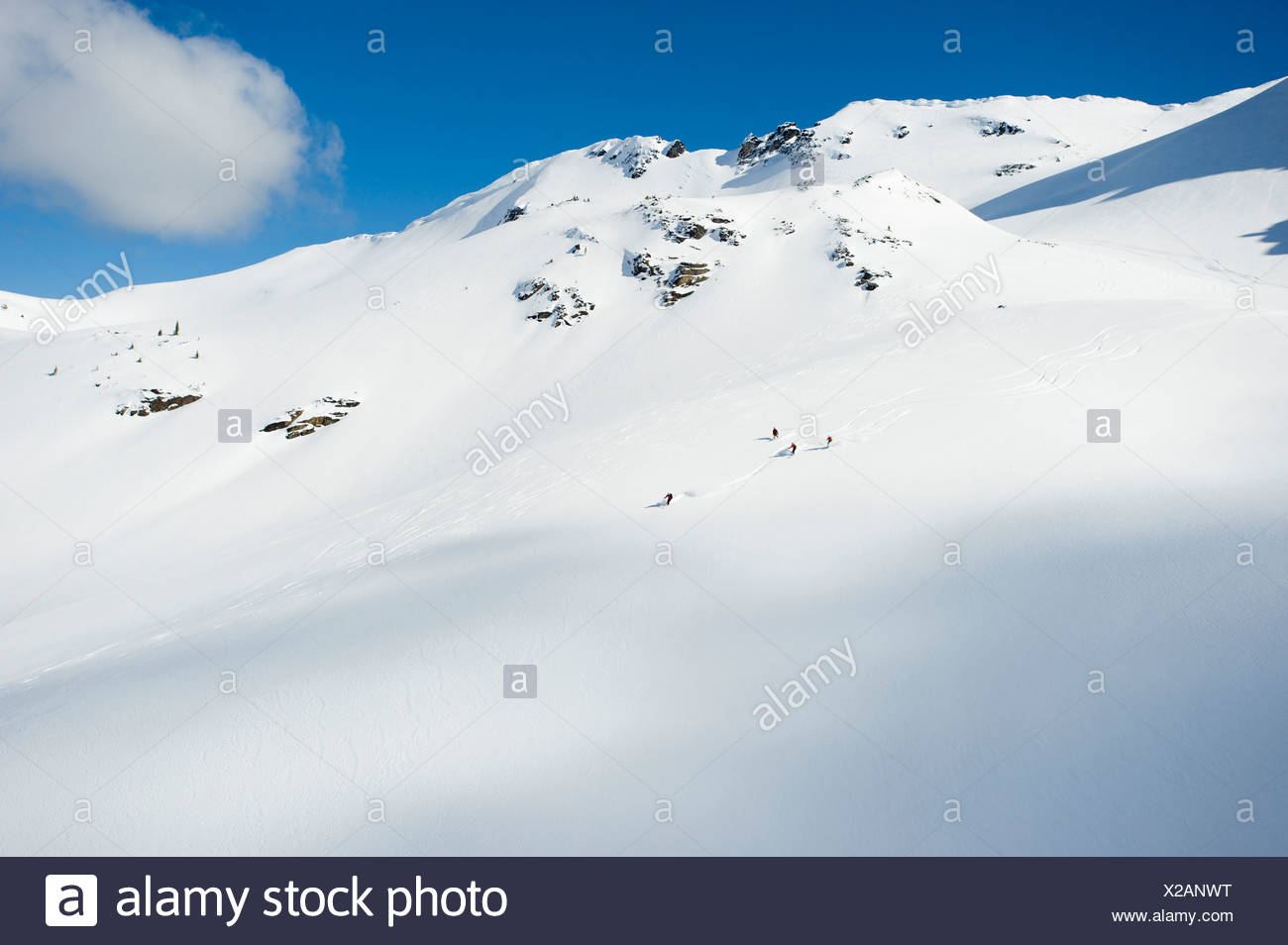 A group of skiers take a run down a large alpine bowl in the backcountry of the Selkirk Mountains, Canada. Stock Photo