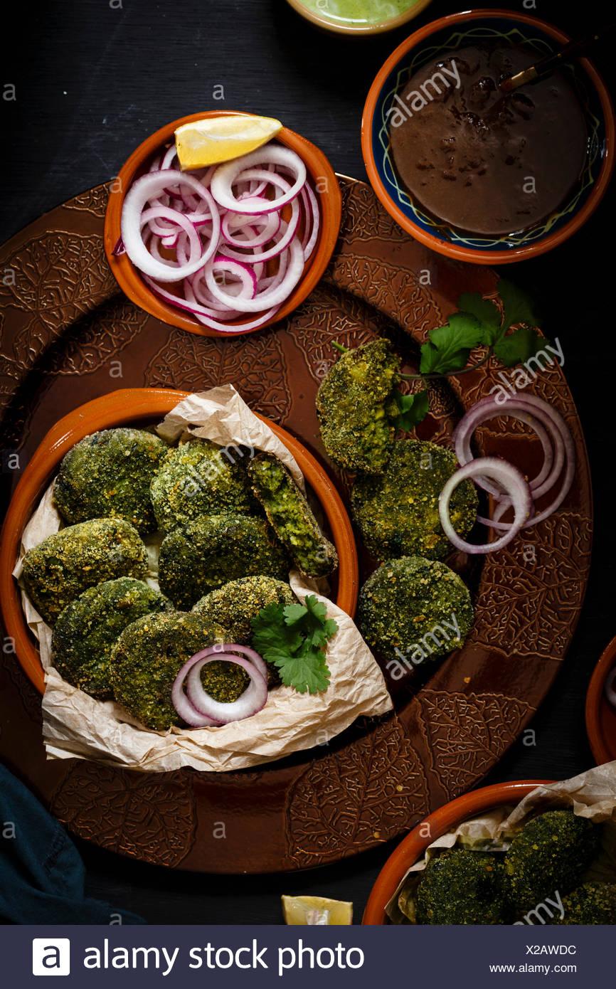 Green Goddess Kebab, also called Hara Bhara Kebab, an appetiser from India - Stock Image