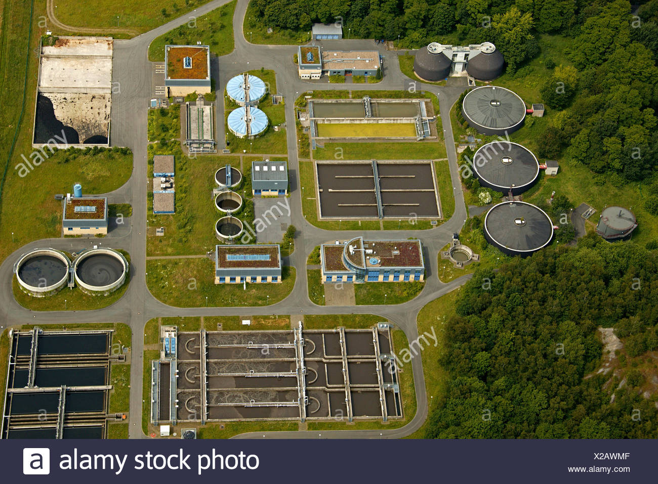 Aerial photo, sewage treatment plant, Dorsten, Lippeverband, Ruhrgebiet, North Rhine-Westphalia, Germany, Europe - Stock Image
