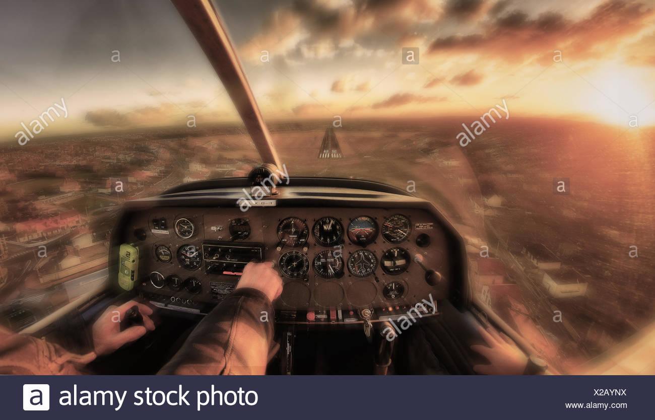 Cockpit of emergency landing airplane - Stock Image