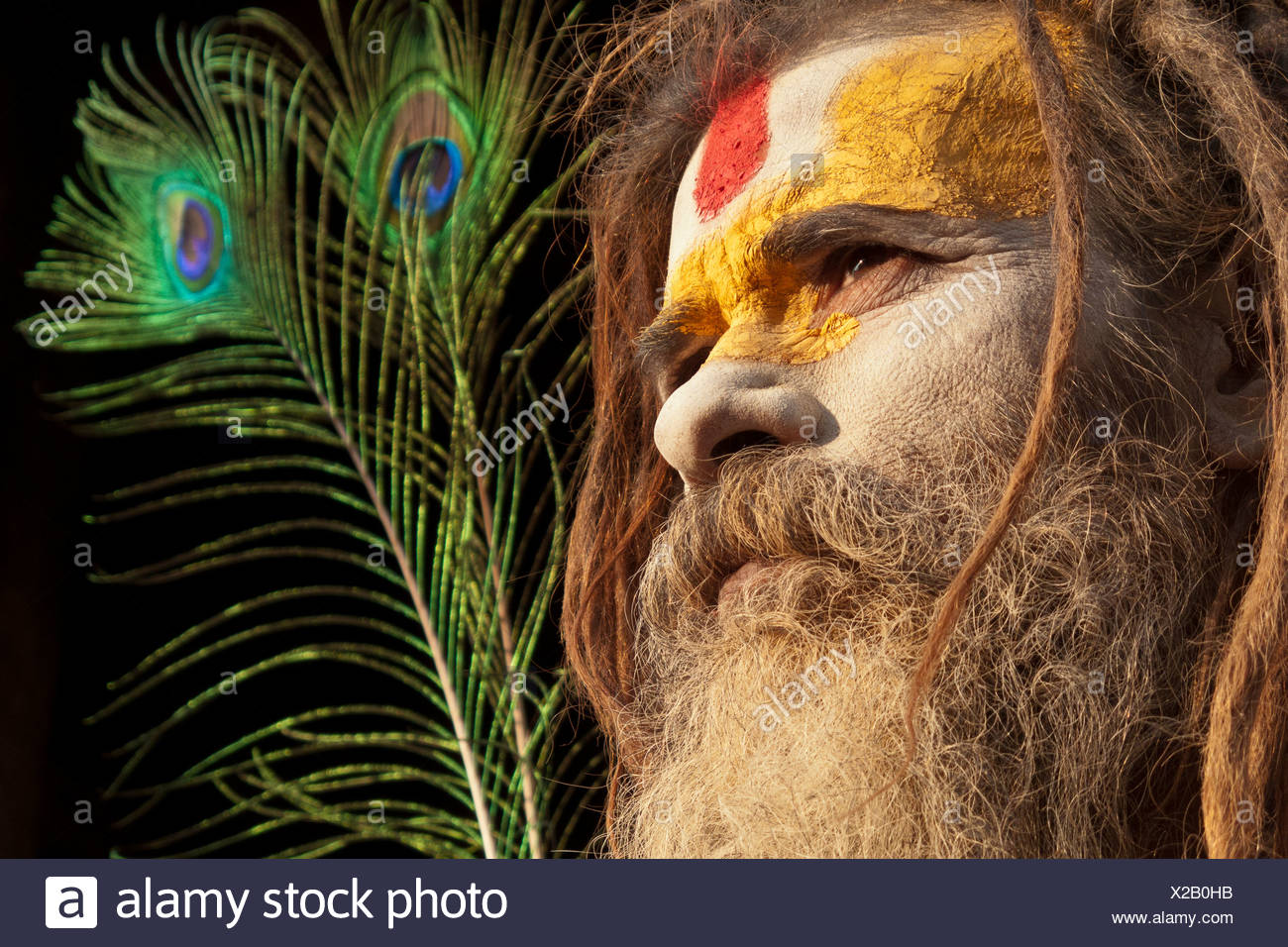 A Rama devoted Sadhu, at Pashupatinath temple in Kathmandu, Nepal, South Asia - Stock Image