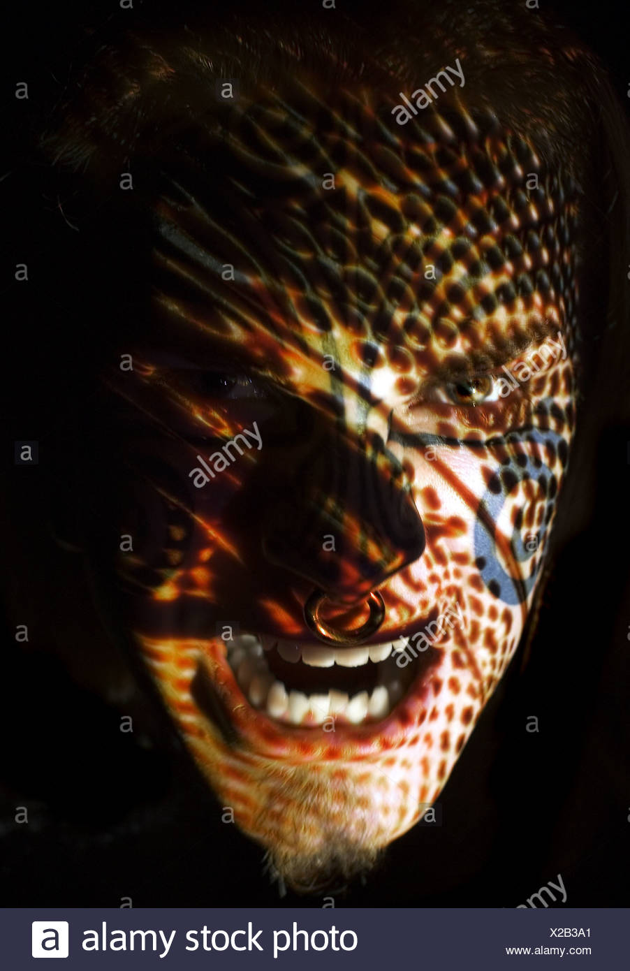 Man Head with Projection - Stock Image