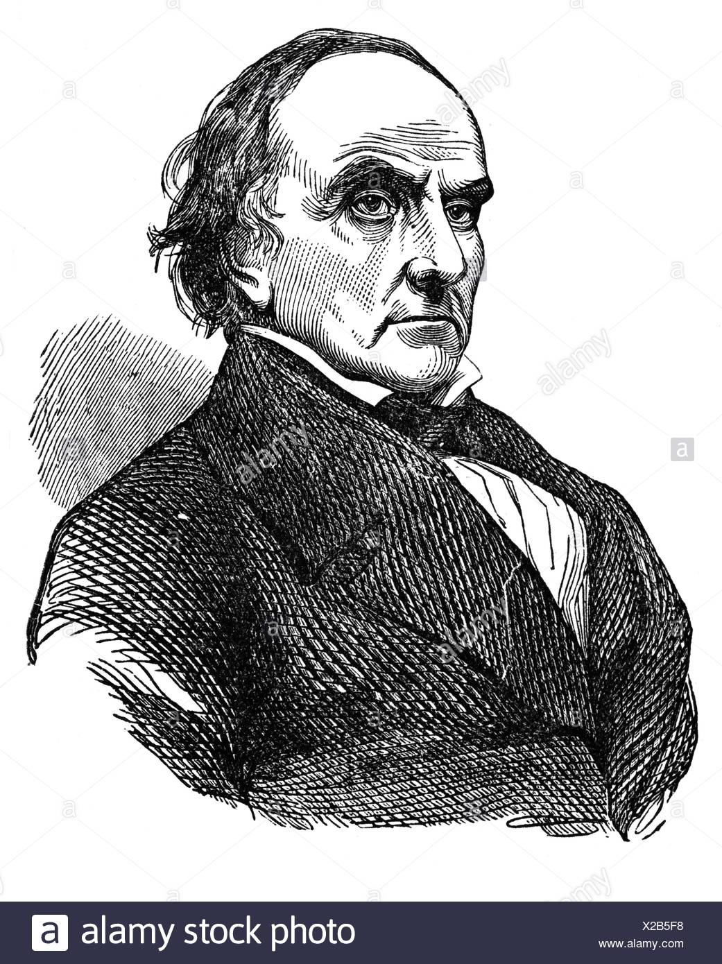 Webster, Daniel, 18.1.1782 - 24.10.1852, American politician, portrait, wood engraving,  19th century, Additional-Rights-Clearances-NA - Stock Image