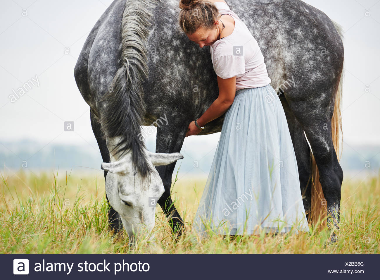 Woman in skirt with arms around dapple grey horse in field - Stock Image
