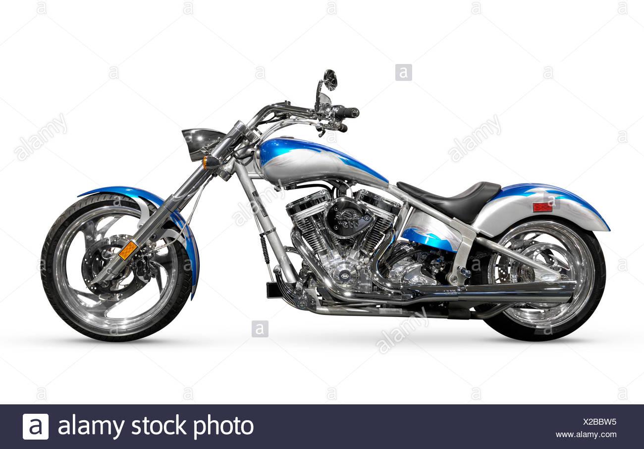 Shiny chopper. Customized motorcycle. Isolated on white background - Stock Image