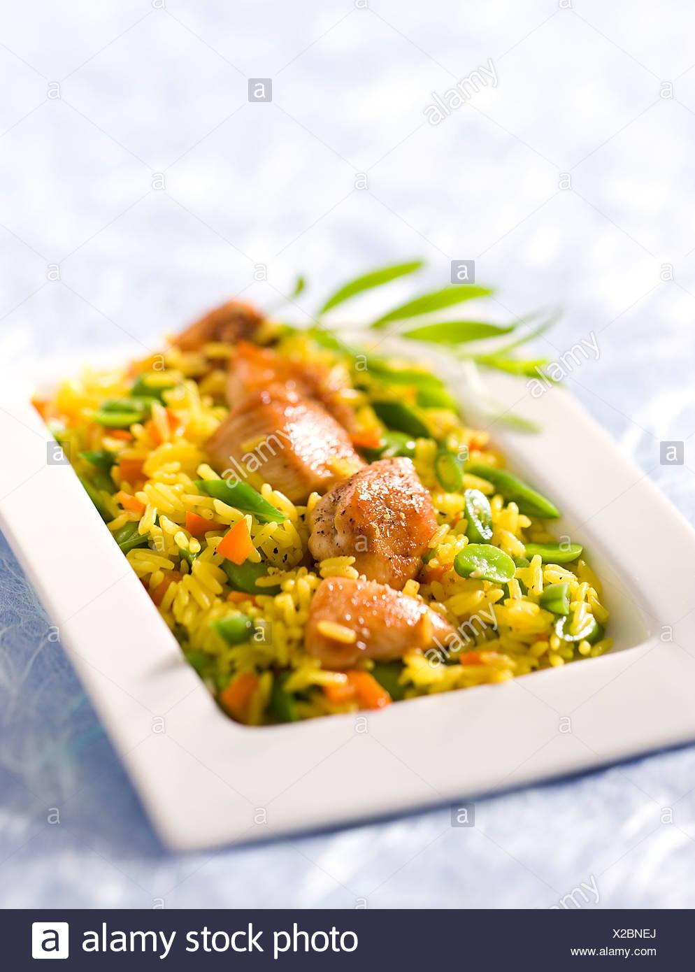 Vegetable ans Saffron Poultry Pilaf - Stock Image