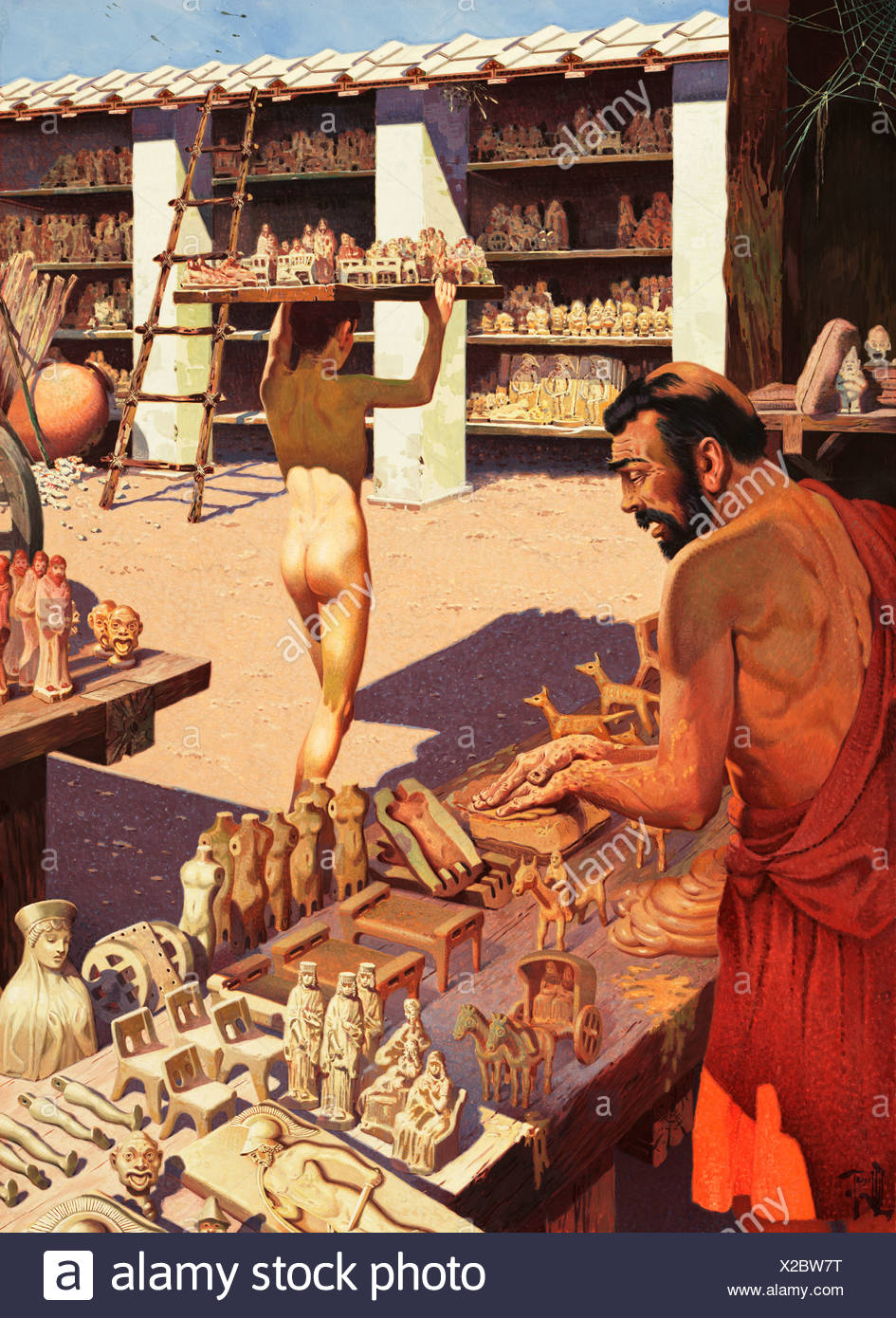 An ancient Greek potter makes clay figurines in Corinth. - Stock Image