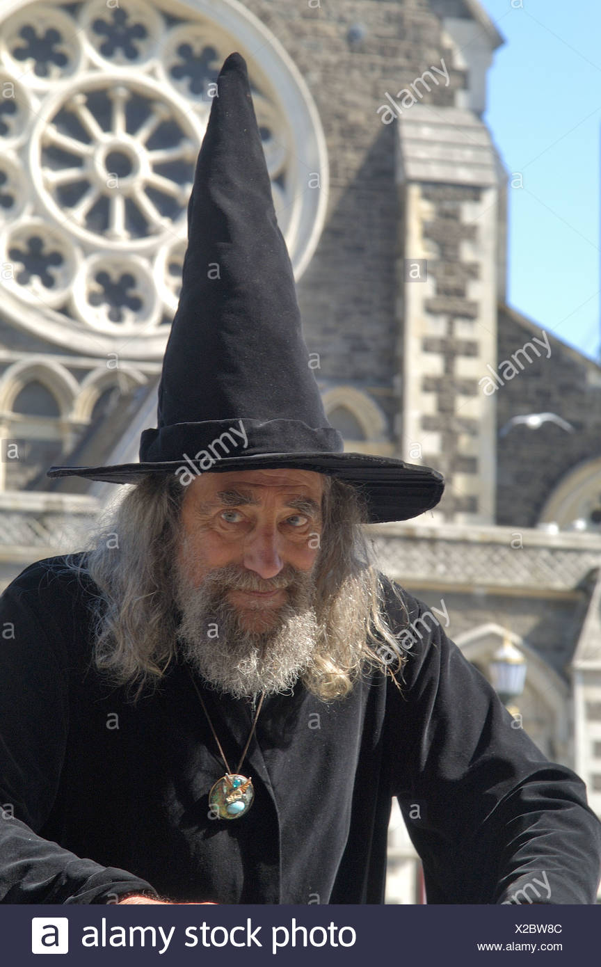 The Wizard in front of cathedral of Christchurch New Zealand - Stock Image
