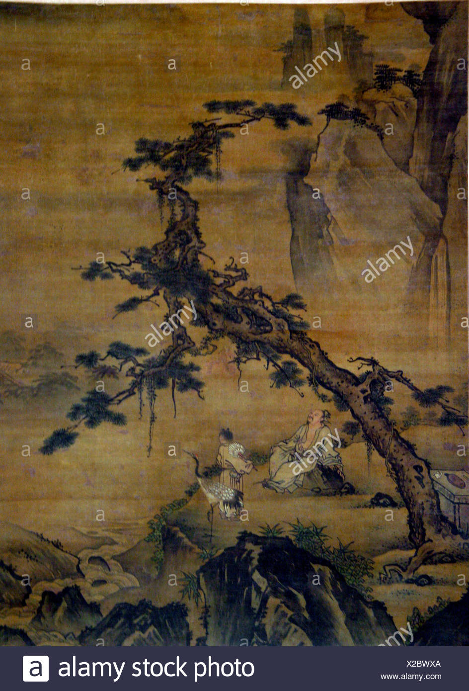 Scholar and Attendant in Mountain Retreat. Artist: Unidentified Artist; Period: Ming (1368-1644) or Qing (1644-1911) dynasty; Culture: China; Medium: - Stock Image