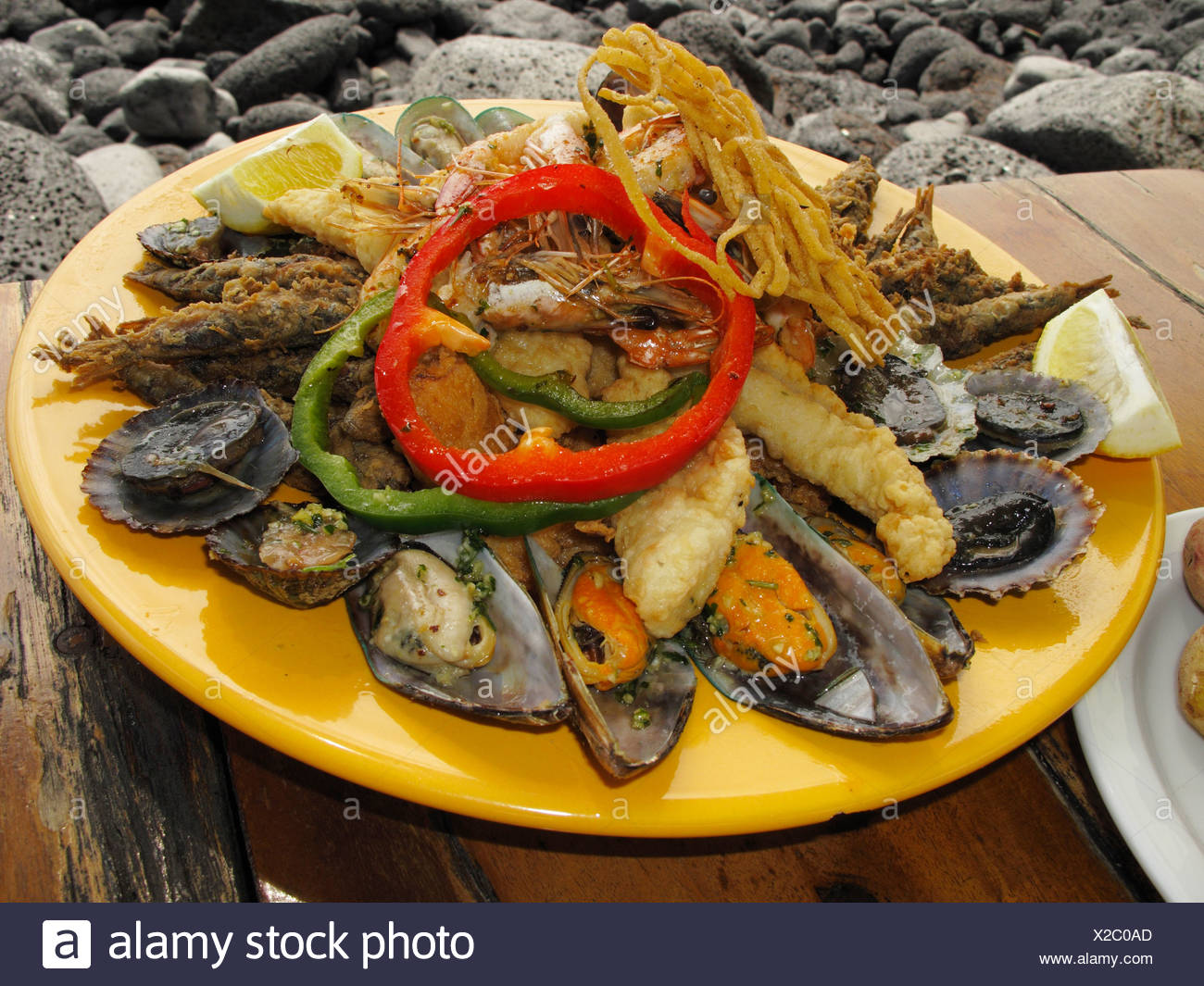 Seafood dish, La Palma, Canary Islands, Spain Stock Photo