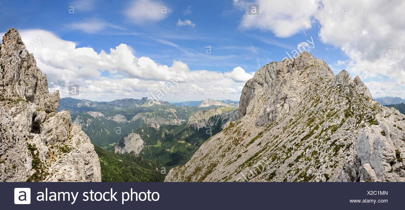 On the left the Hochturm peak, 2081m, summit of Mt. Trenchtling, Trenchtling hike, Hochschwab range, Styria, Austria Stock Photo