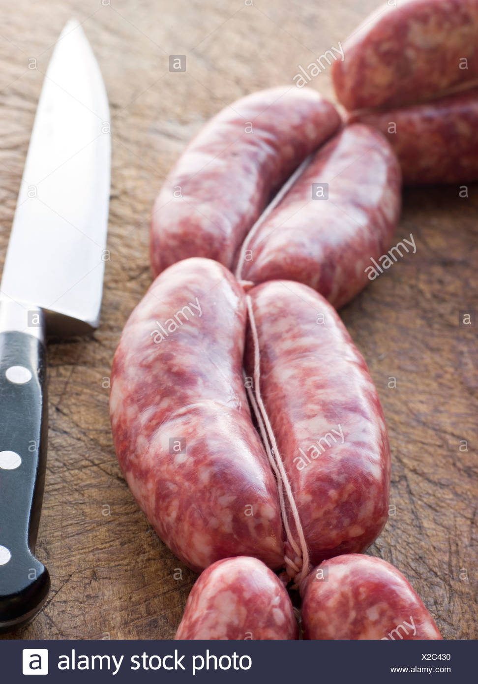 Tuscan sausage in Links - Stock Image