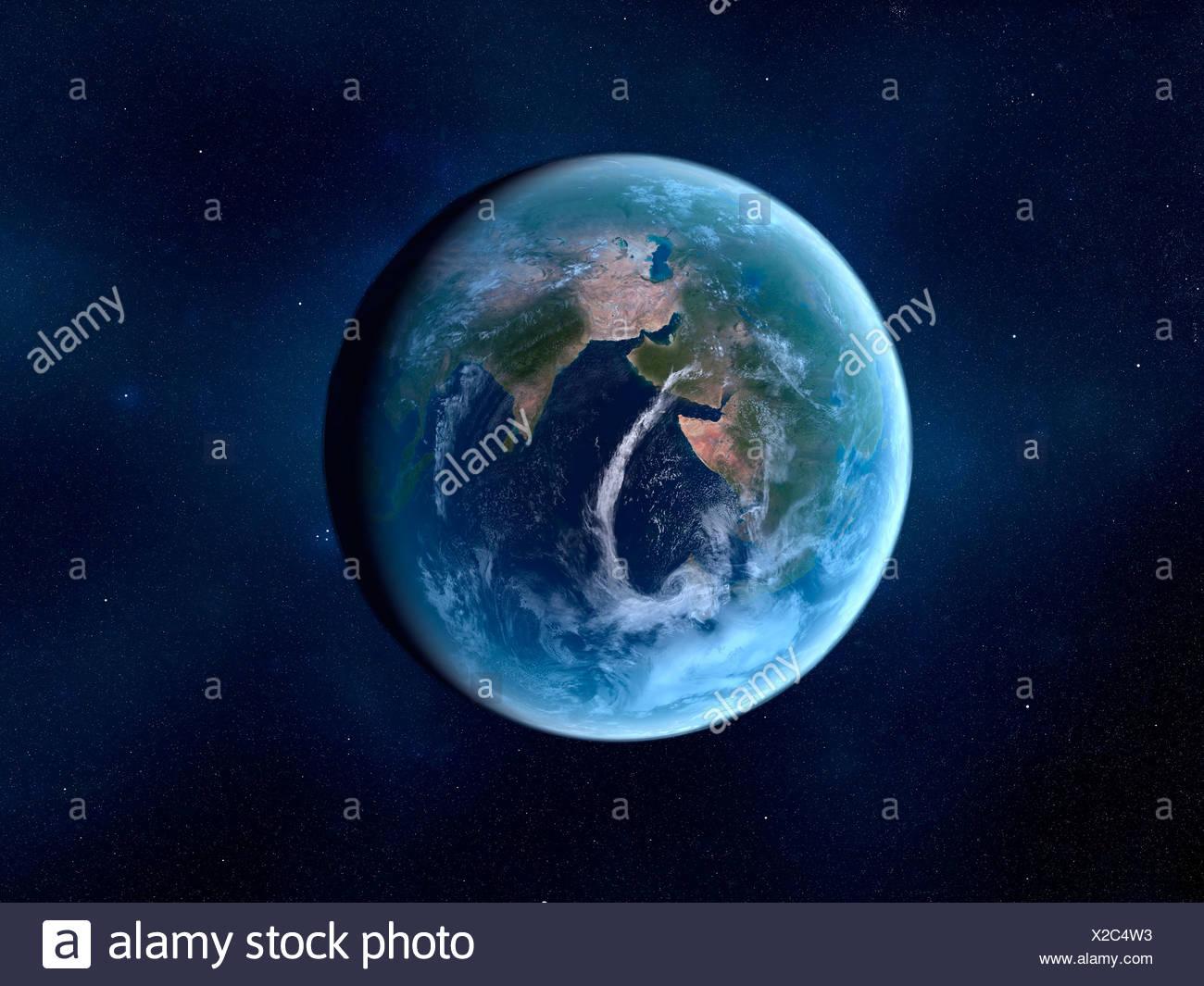 Earth-like alien planet, artwork Stock Photo: 276862463 ...