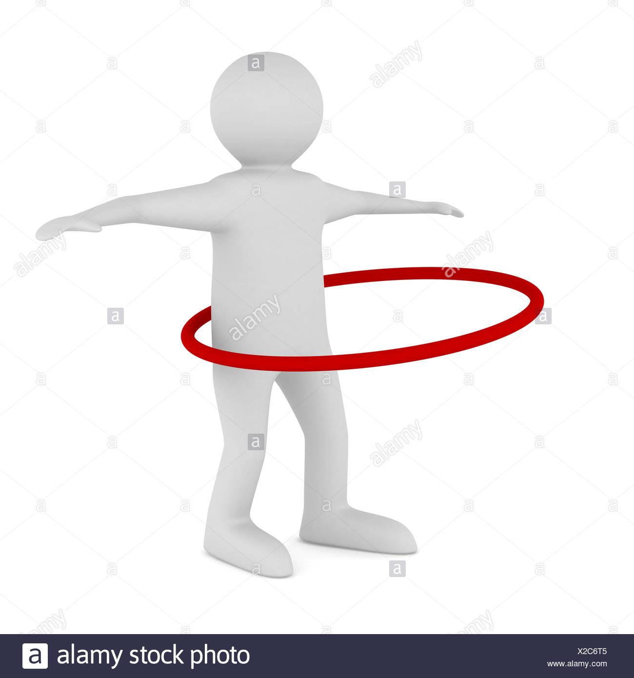 man and hula hoop on white background. Isolated 3D image Stock Photo