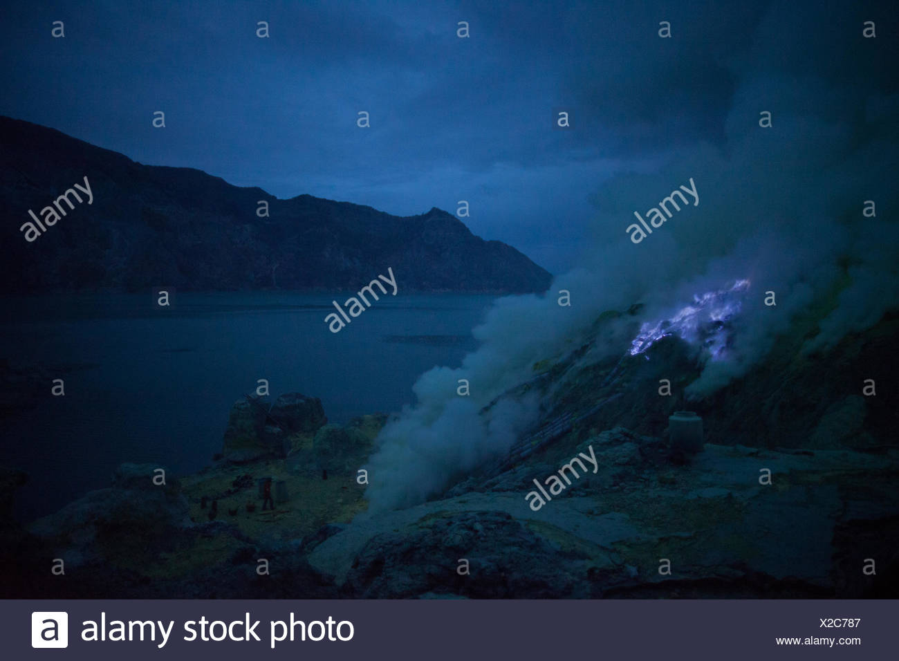 Geothermal Vent Beside Crater Lake - Stock Image
