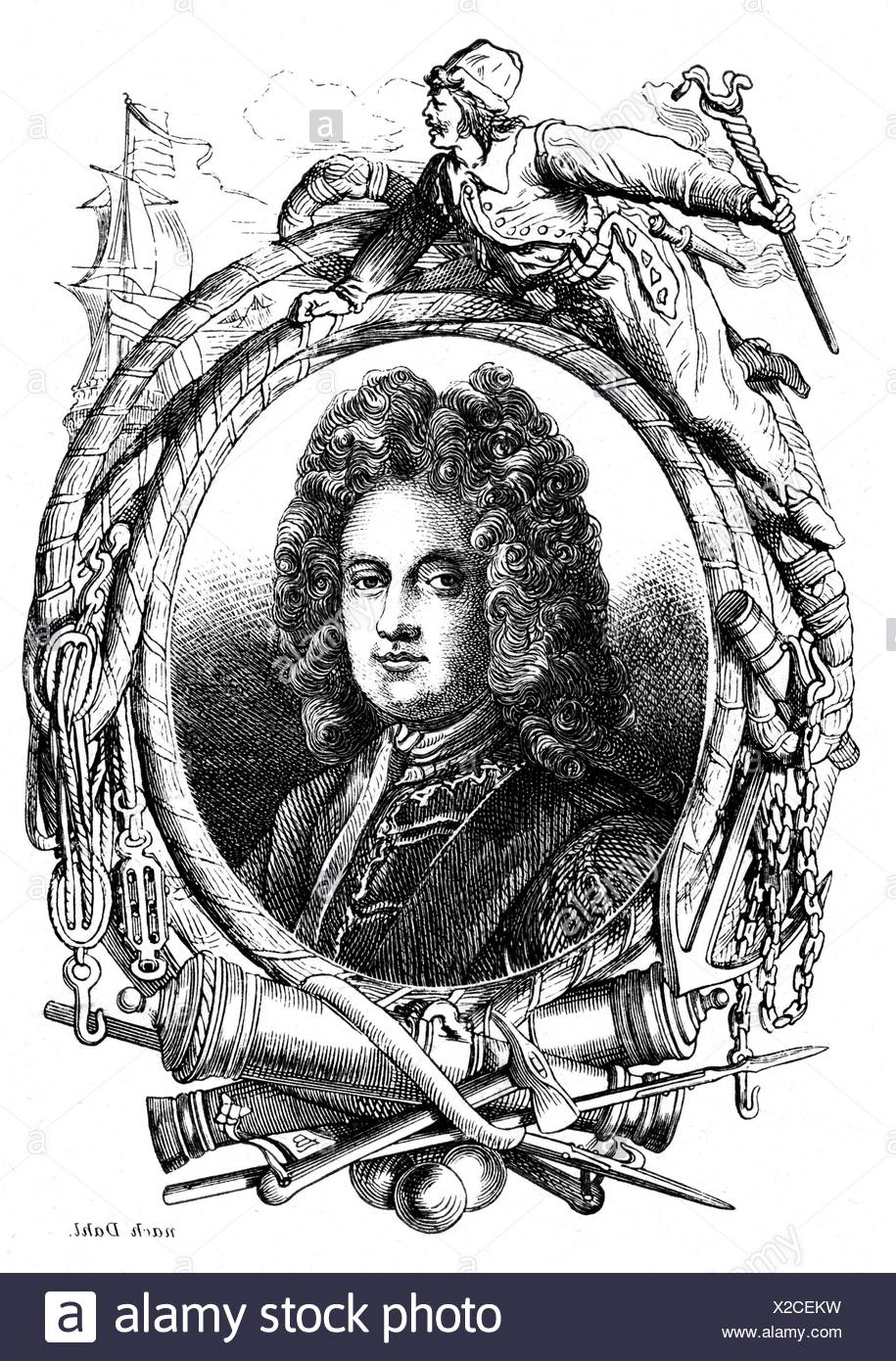 Mordaunt, Charles, 1658 - 25.10.1735, 3rd Earl of Peterborough, English politician and general, portrait, wood engraving, 19th century, Stock Photo