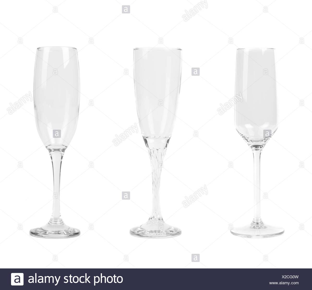 Three different tall wineglasses. - Stock Image