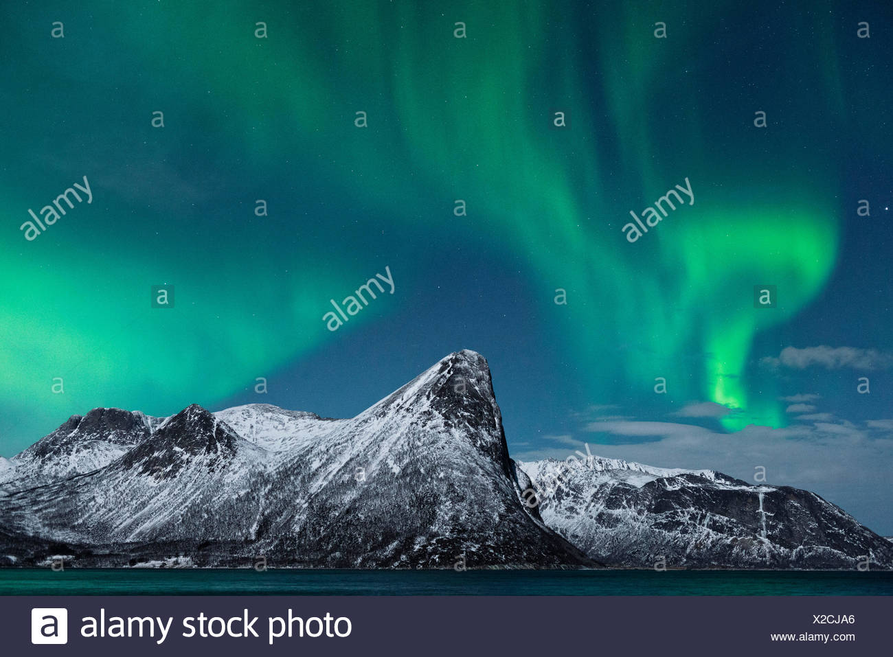 Norway, Senja, island, Rodsand, Aurora, Borealis, aurora borealis, - Stock Image