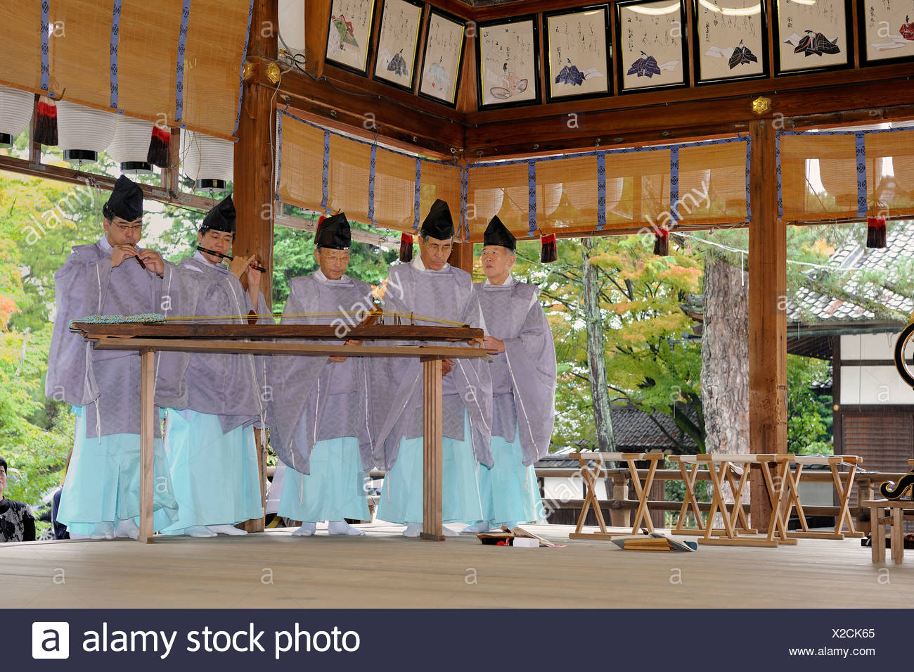 Shinto instrumental group in Imamiya Shrine, Jidai-Matsuri Autumn Festival, Kyoto, Japan, Asia - Stock Image
