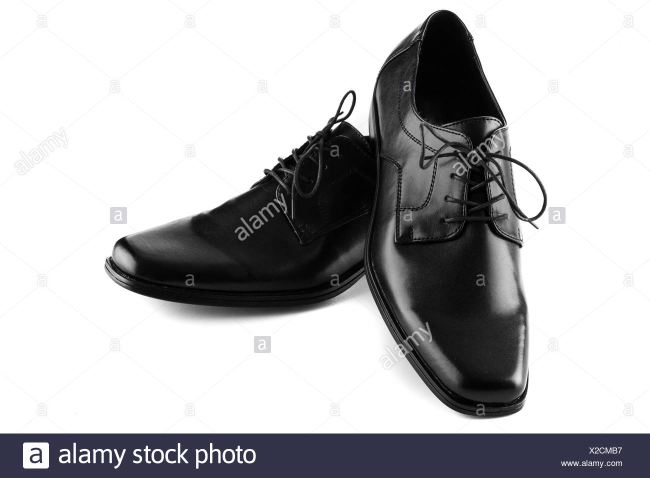 black leather shoes - Stock Image