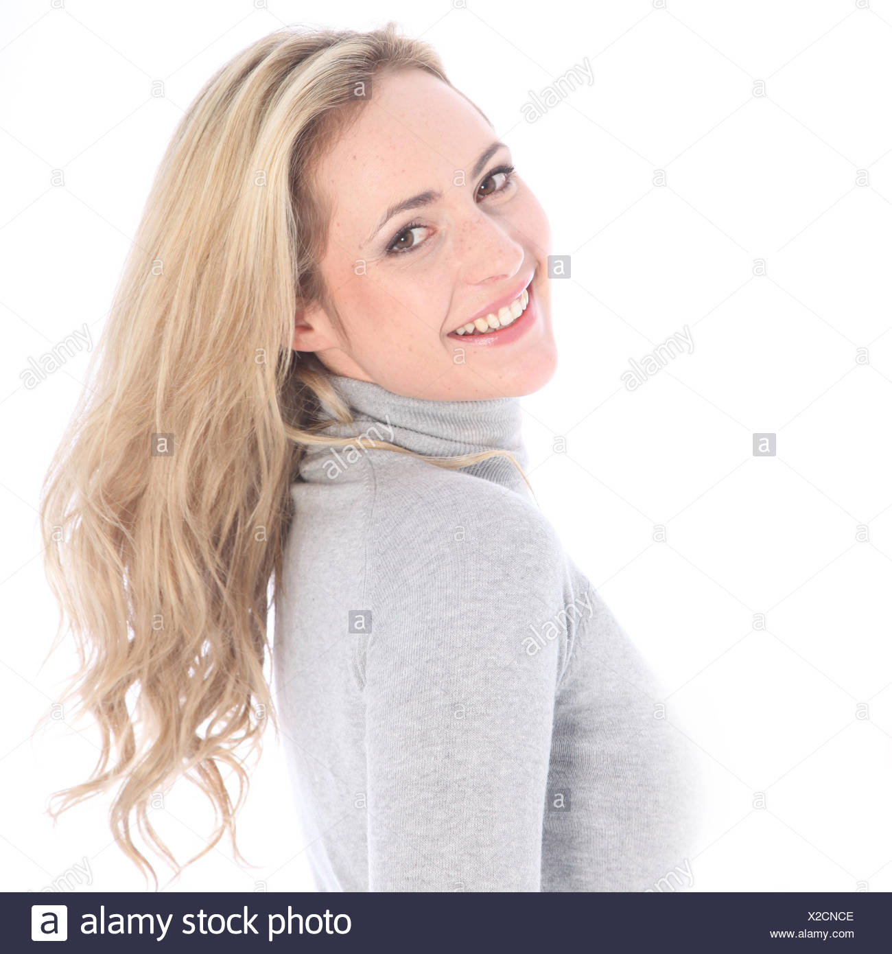 Girl bounces back curly blond - Stock Image