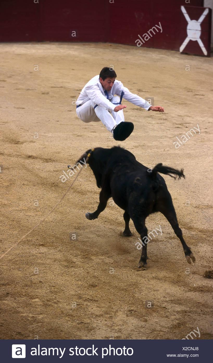 Matador bullfighting in arena Souprosse France Stock Photo
