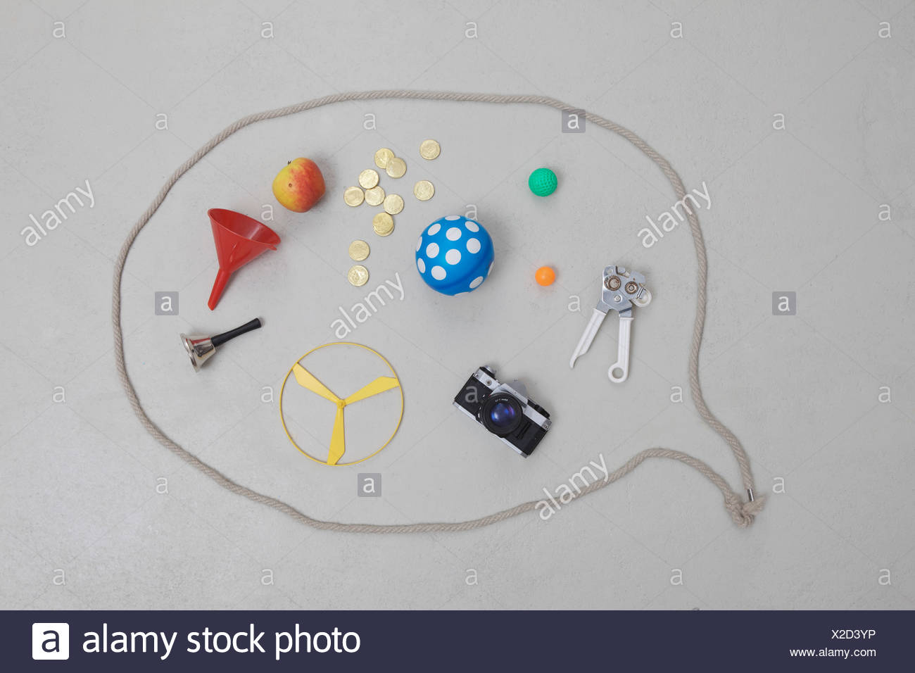 Variety of objects in speech bubble Stock Photo
