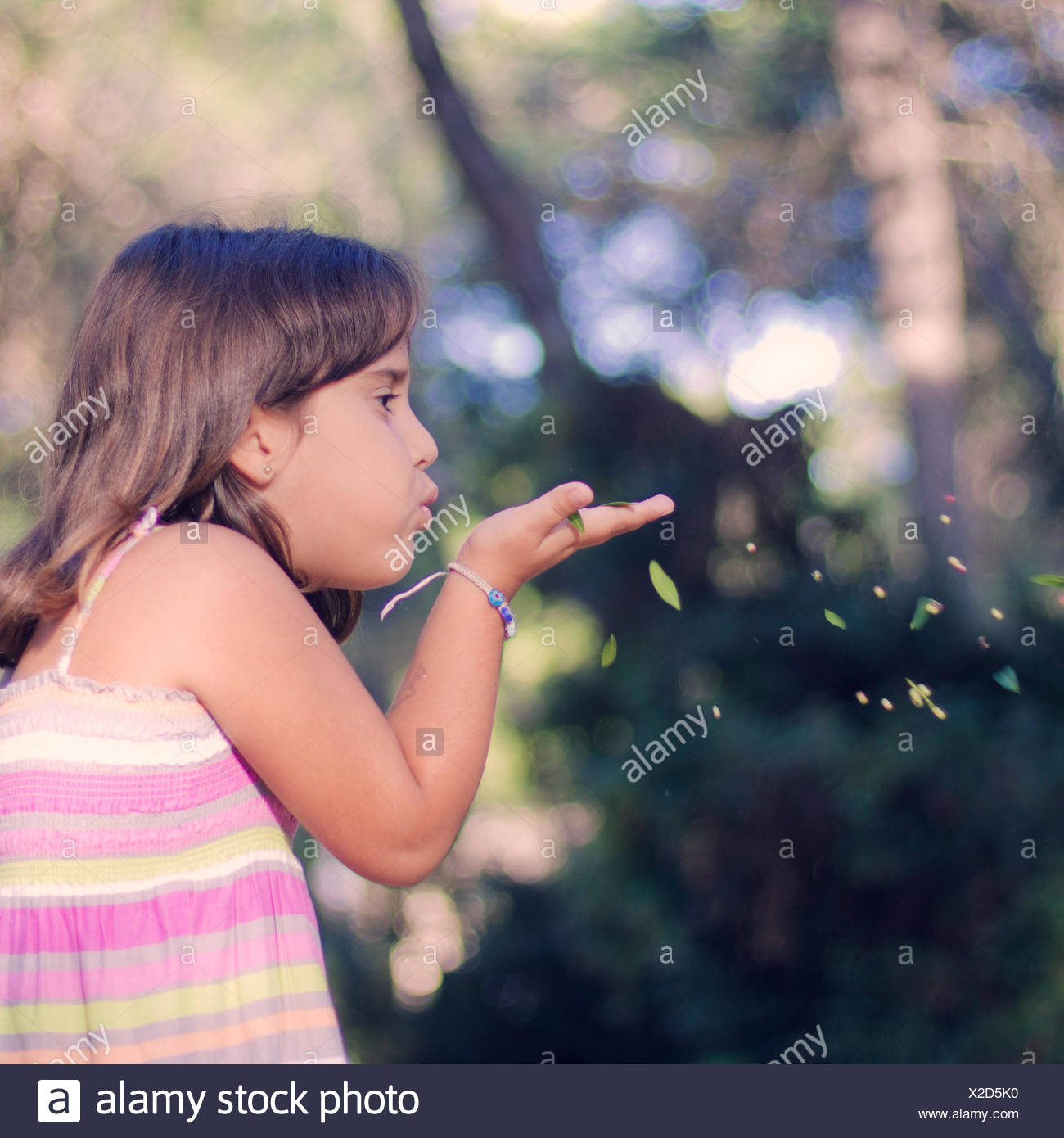 Girl (6-7) blowing leaves from hand - Stock Image