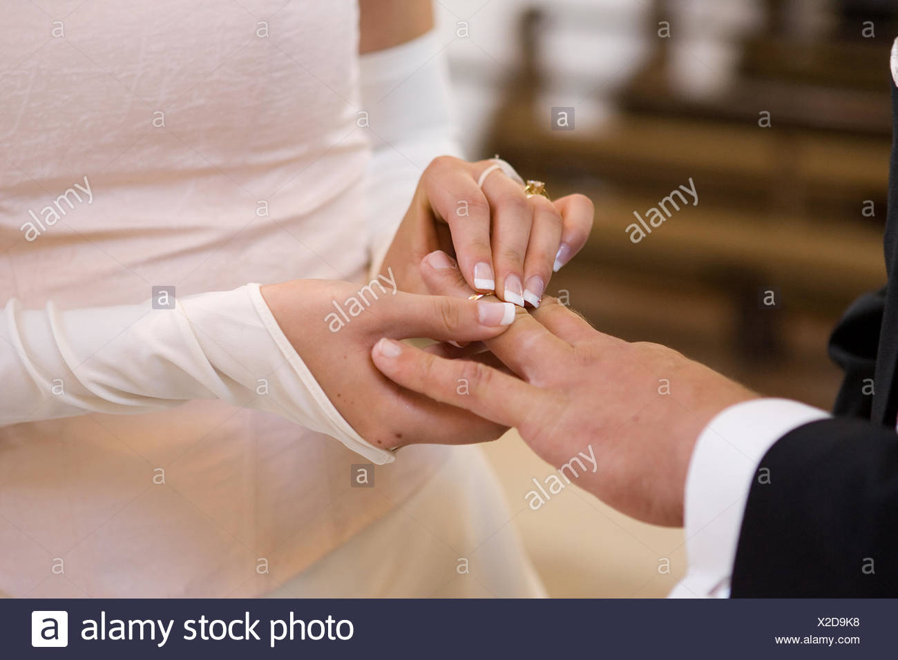 wedding ring handover - Stock Image