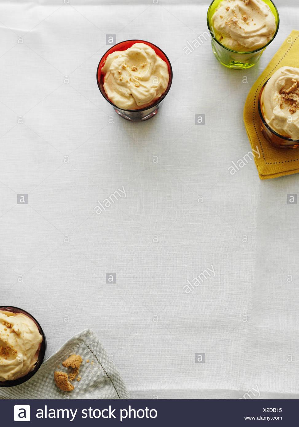 Bowls of angel delight dessert - Stock Image