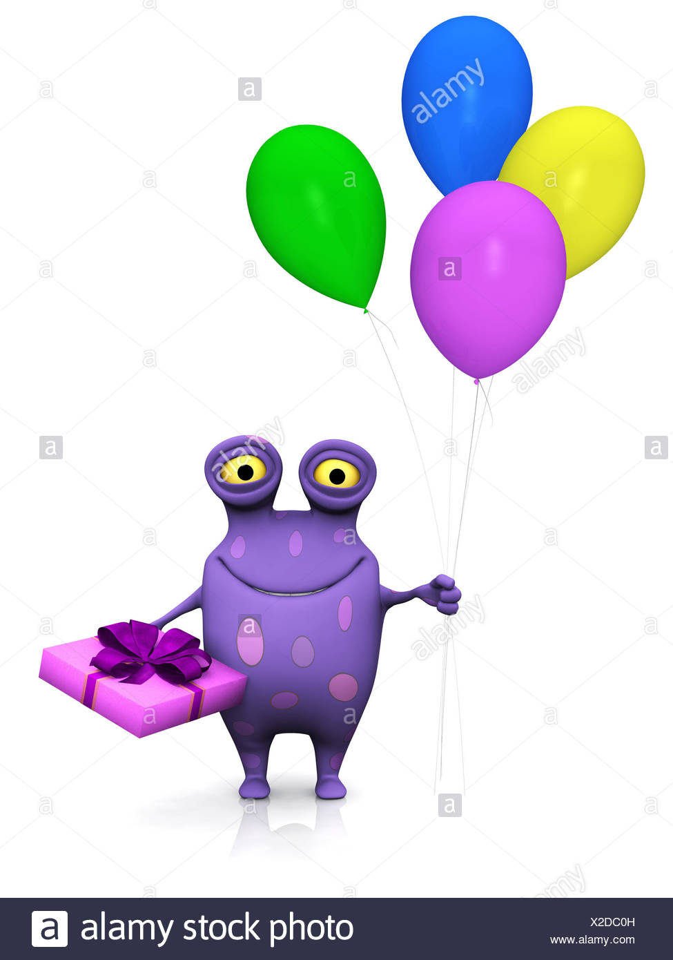 A Cute Charming Cartoon Monster Holding A Birthday Gift In One Hand