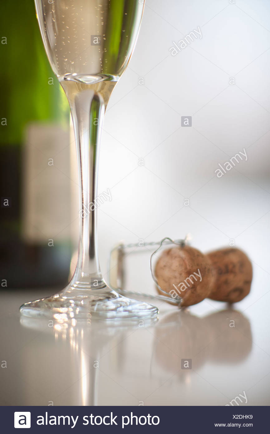 Champagne flute and cork - Stock Image