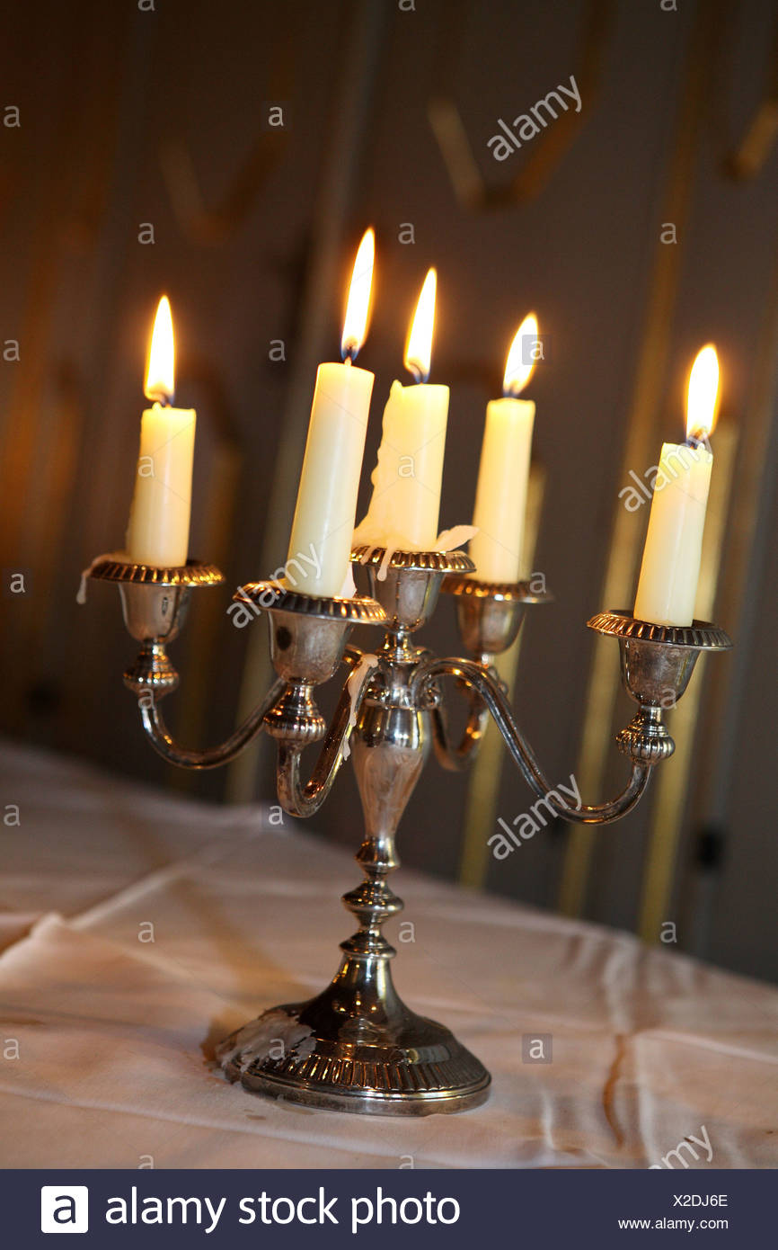 Silver candle holder - Stock Image