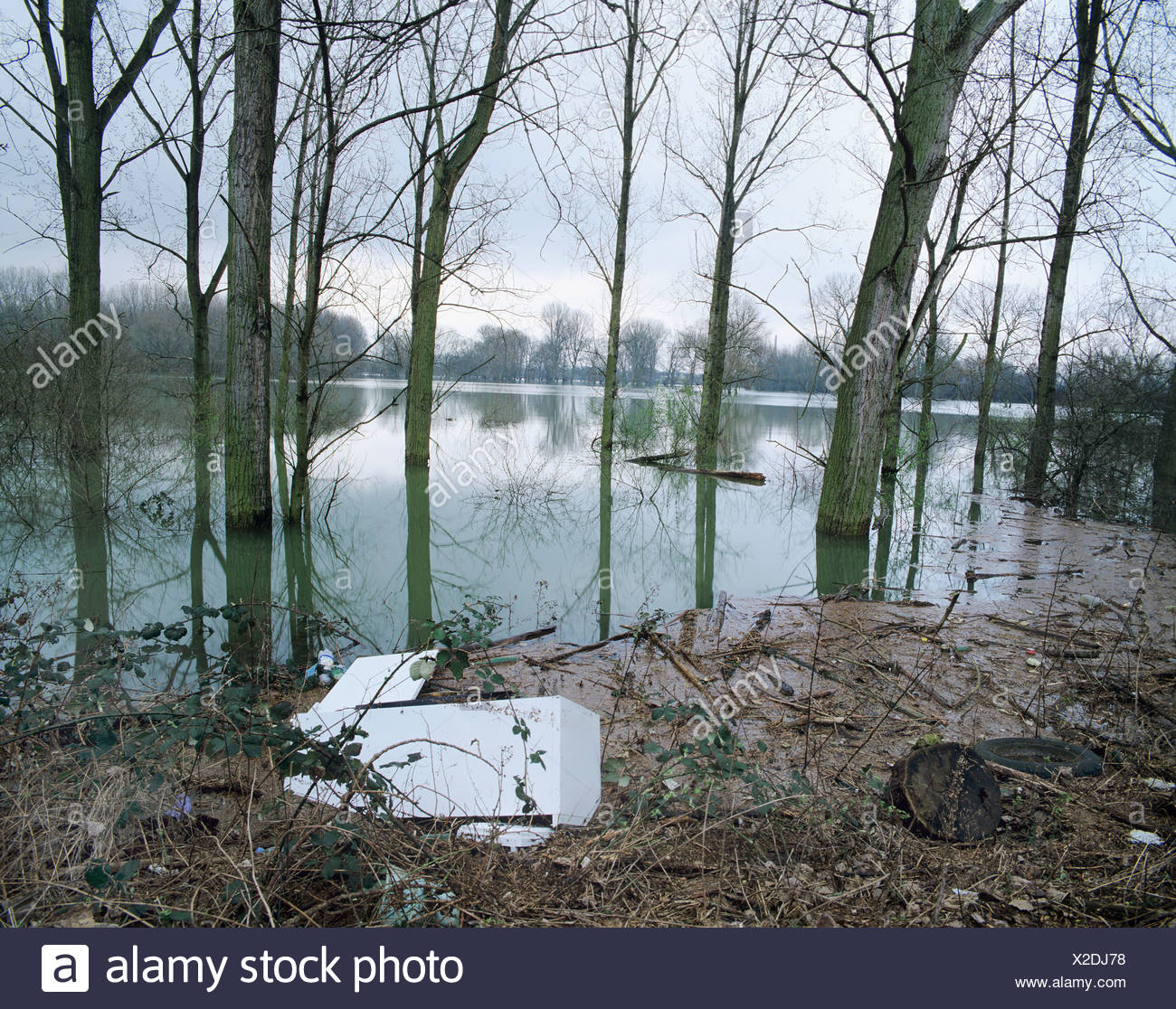 Refrigerator swept up in a flood plain, flotsam, flooding, CFC, CFCs Stock Photo