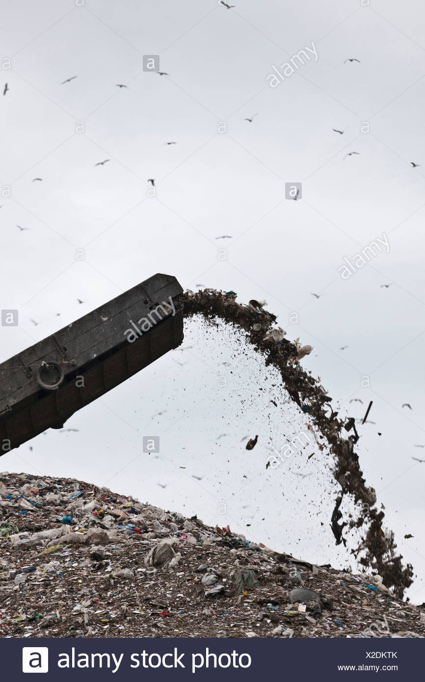 Spout at garbage collection center - Stock Image