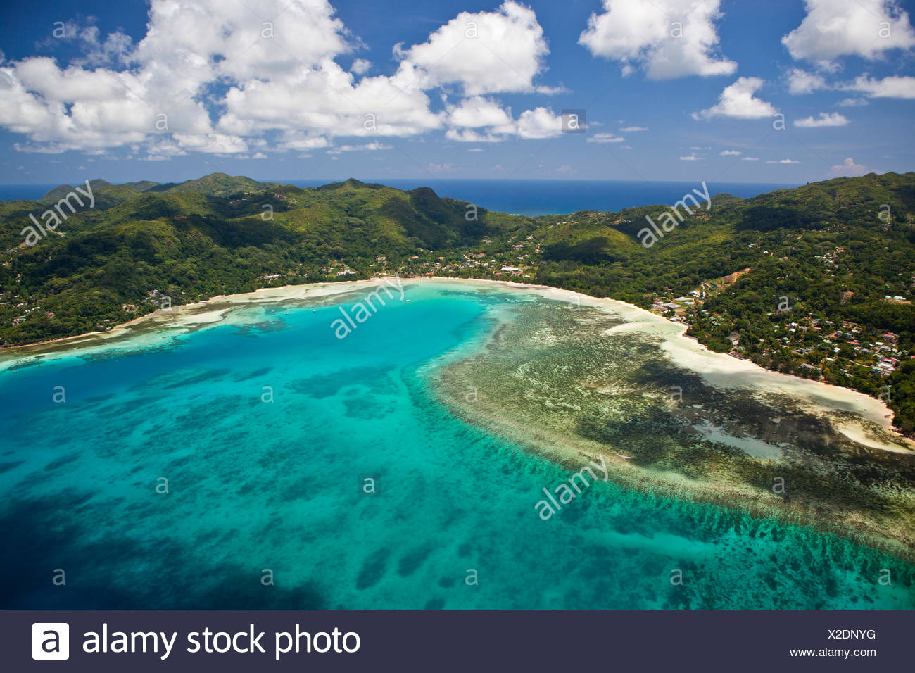 Bay of Anse á la Mouche, Southern Mahe, Mahe Island, Seychelles, Africa, Indian Ocean - Stock Image