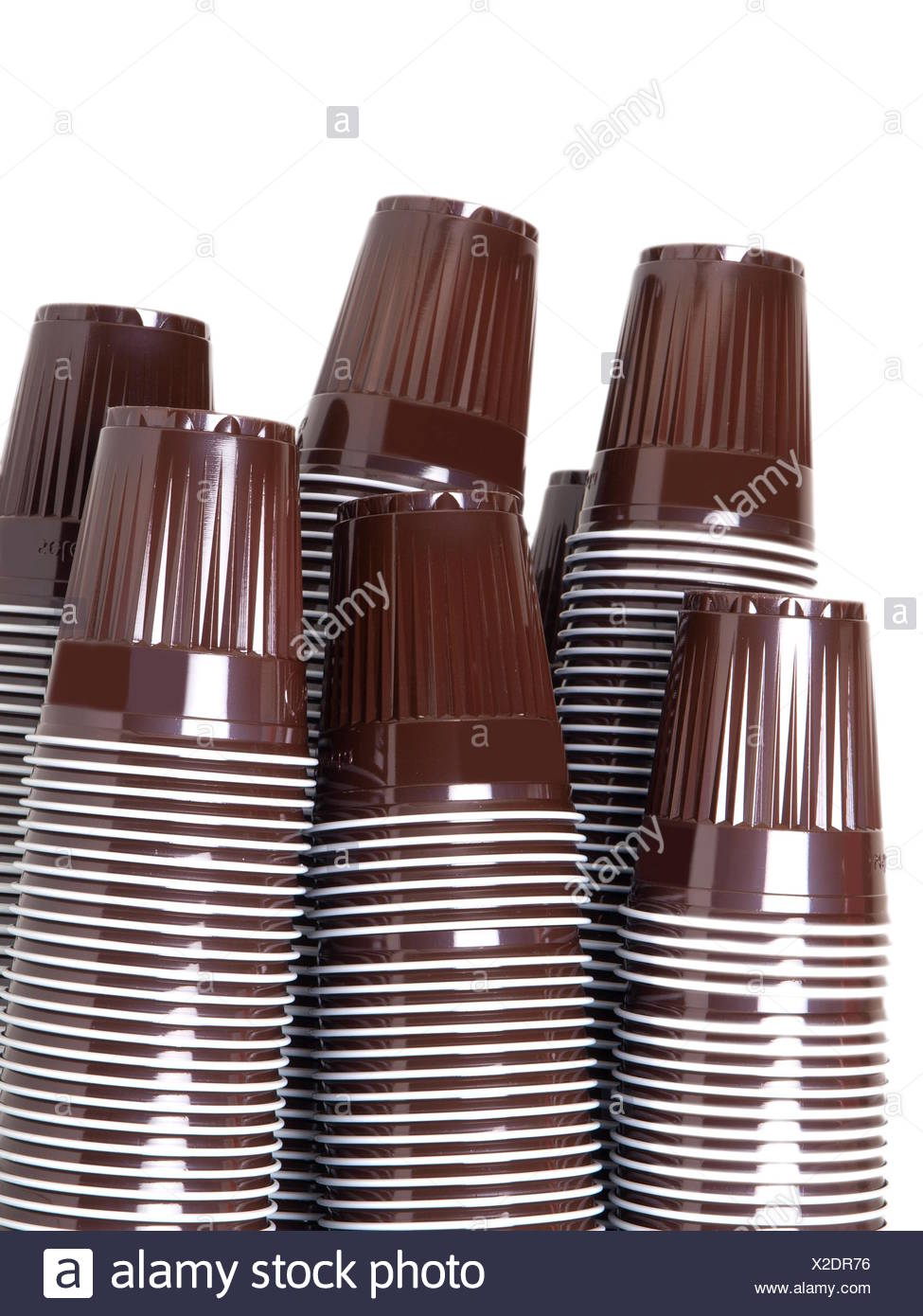 Brown plastic cups - Stock Image