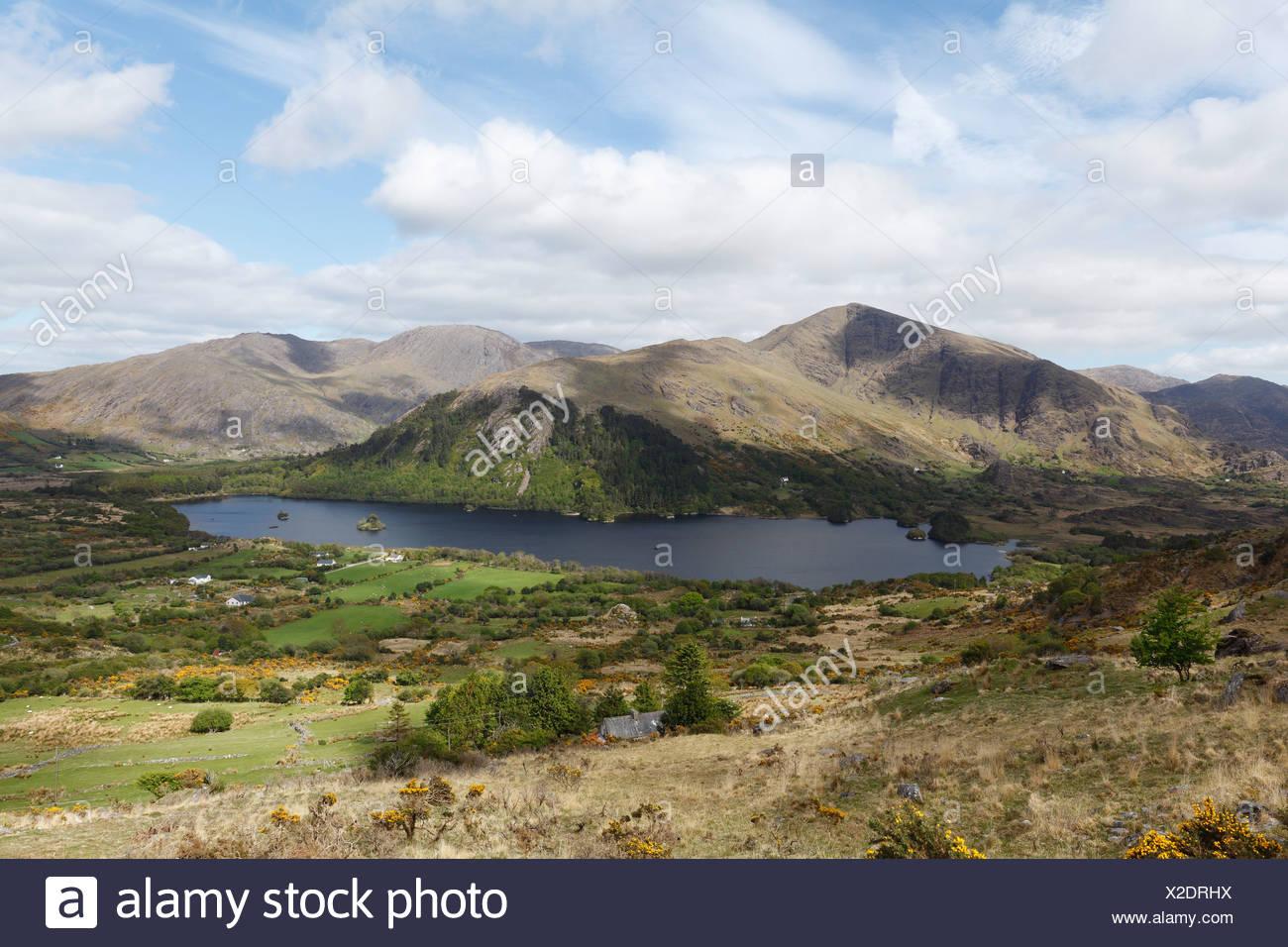 Glenmore Lake, view from Healy Pass, Beara Peninsula, County Kerry, Ireland, British Isles, Europe - Stock Image