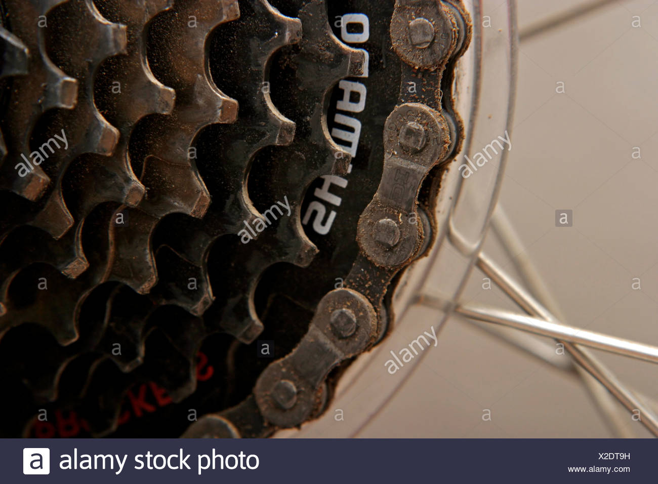 Close Up Of Bicycle Parts The Back Cog Wheel Stock Photo 276899661
