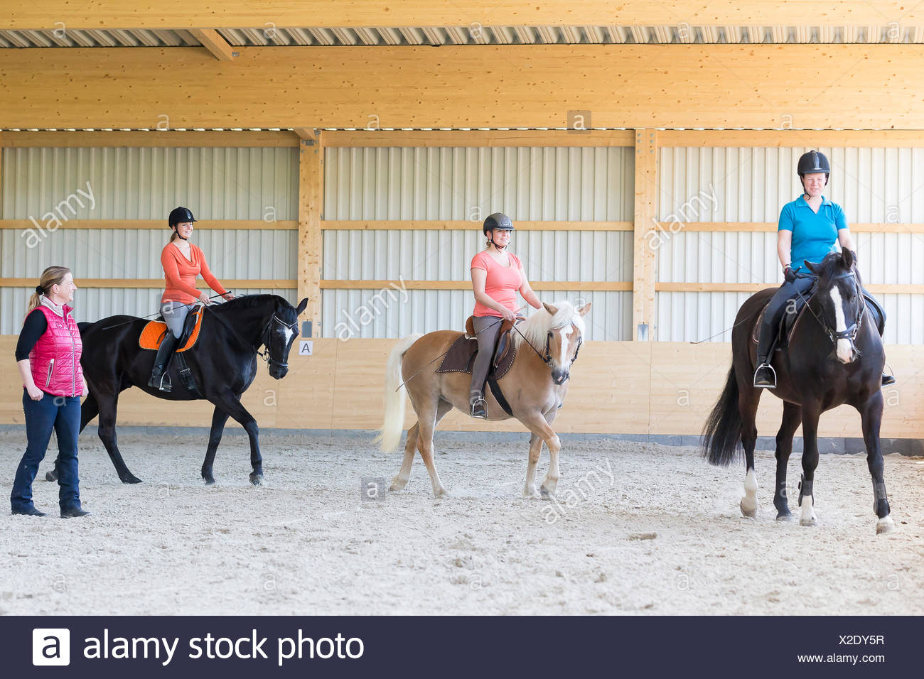 Riding lesson riding hall - Stock Image