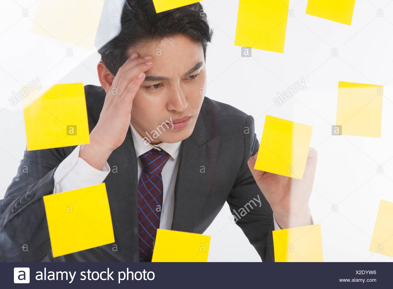 Portrait of stressful businessman with lots of post-it - Stock Image