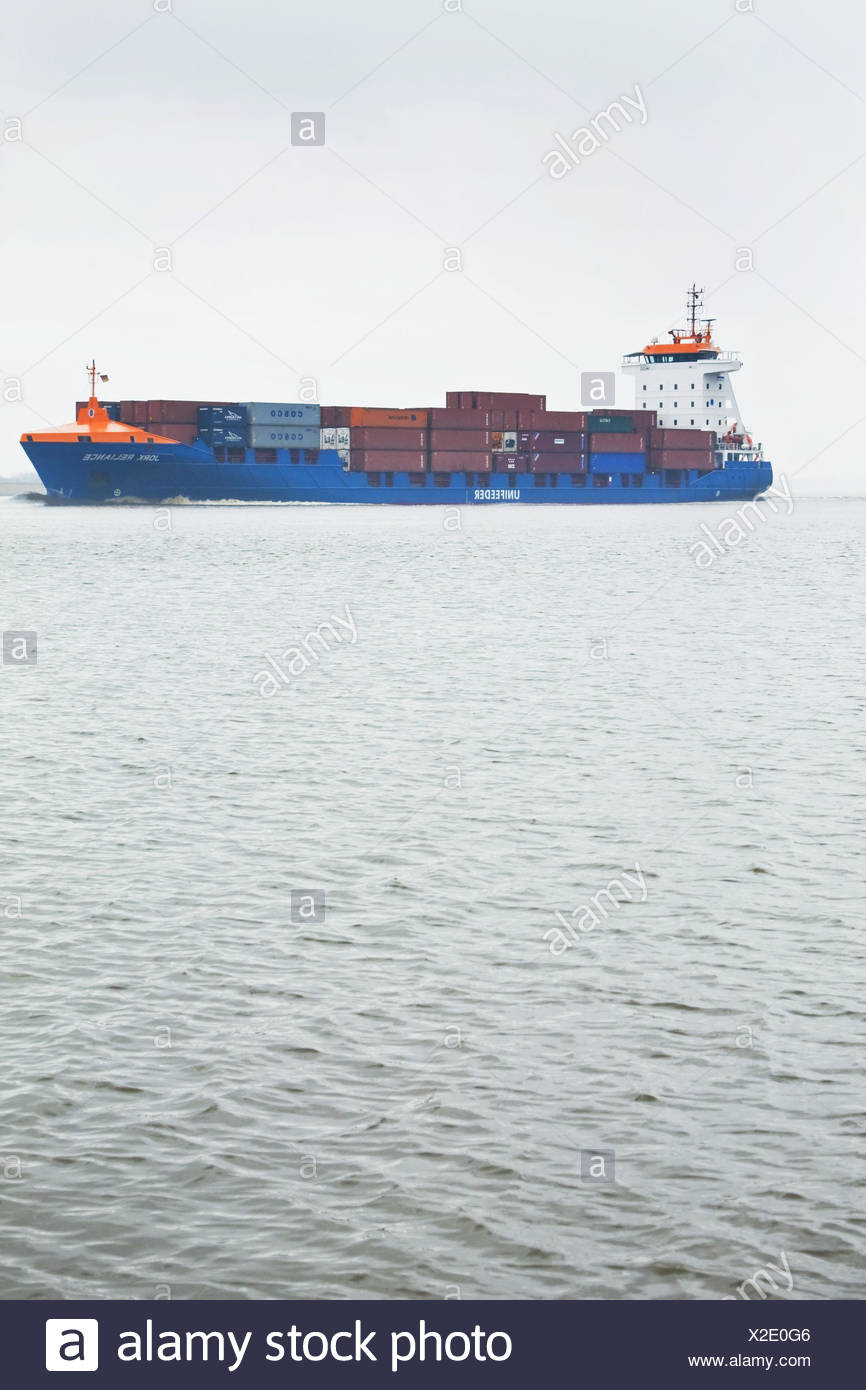 Germany, Hamburg, the Elbe, container ship, side view, outside, harbour, river, waters, ship, container, transport, trade, economy, - Stock Image