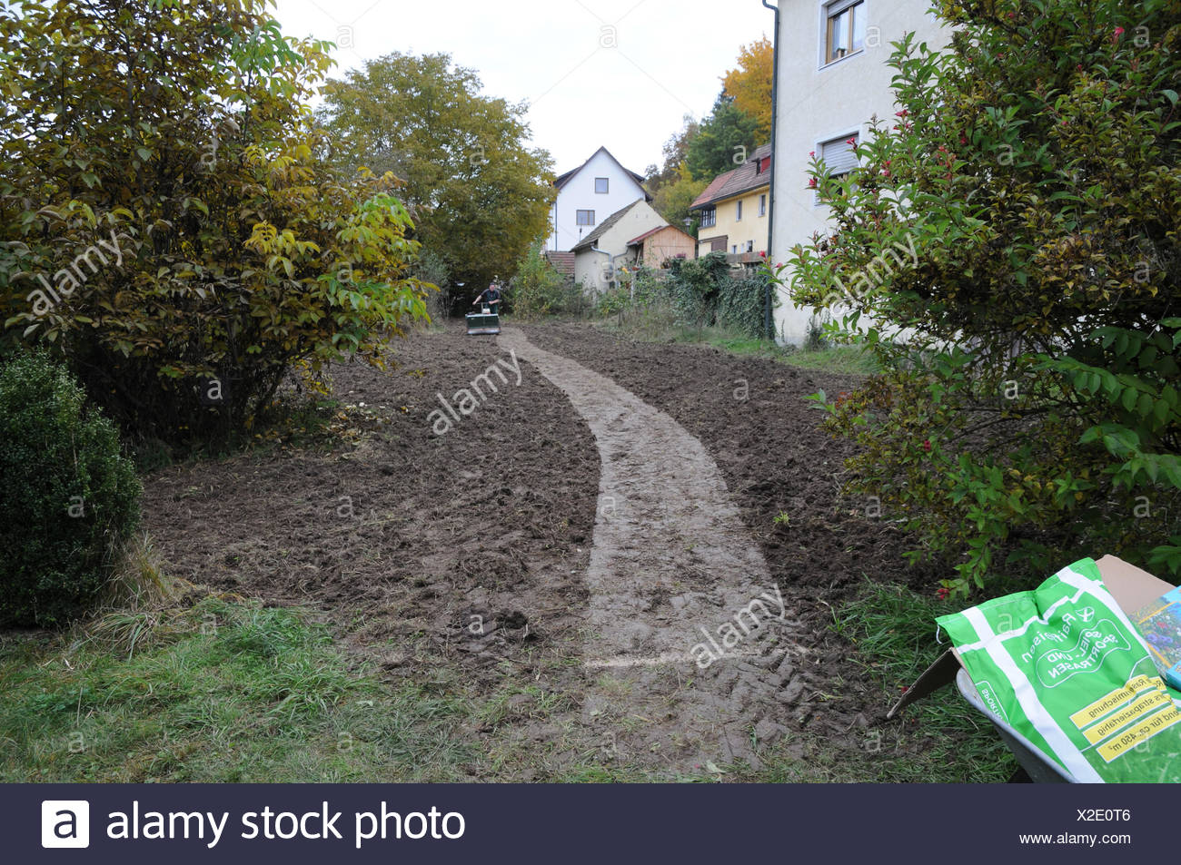 Seeding lawn with machine - Stock Image