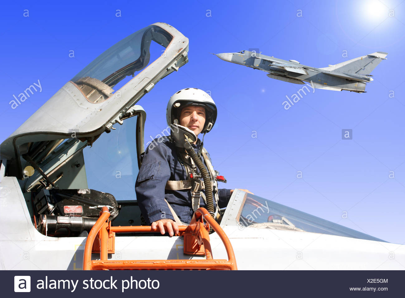 The military pilot in the plane Stock Photo